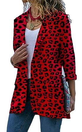 1f4dda2aad54a ARTFFEL Womens Long Sleeve Leopard Print Plus Size Business Work Blazer  Jacket Suit Coat Red 2XL