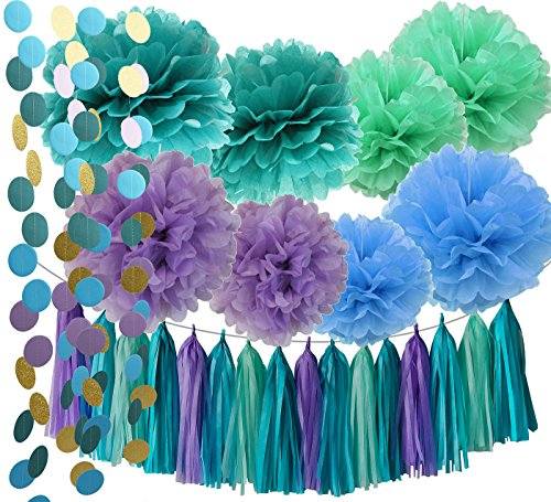 Under the Sea Party Supplies/Mermaid Decorations Teal Purple Blue Mint Tissue Pom Poms First Birthday Decorations Baby Shower Decorations Purple Mermaid Party Supplies/Mermaid Bridal Shower Decor - Blue Garland Dessert
