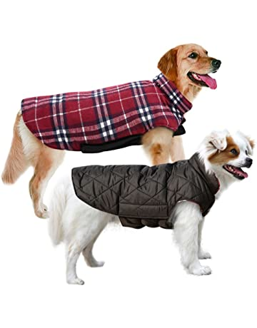 MIGOHI Dog Jackets for Winter Windproof Waterproof Reversible Dog Coat for Cold Weather British Style Plaid