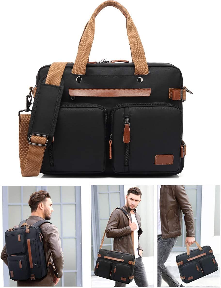 Laptop Messenger Bag, 17-inch Shoulder Laptop Bag with Durable Waterproof Nylon Multi-Functional Shoulder Laptop Backpack Fits 17.3 Inch Laptop for Men Women Laptop Case Handbag Business Briefcase