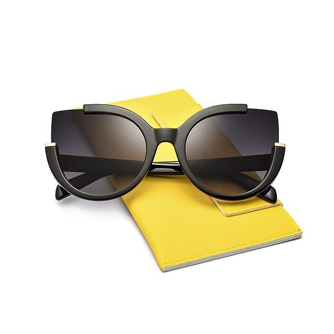 2900b80f75 Mosanana Oversized Cateye Sunglasses for Women Ladies Black Dark Fashion Big  Large Trendy Unique Cute Unique