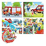 TOI Early Learning & Educational Toys, 4-IN-1-Box Magic Paper Board Puzzles Life Picture Floor Puzzle Jigsaw Game Gift for 3+ Years Old Kids Toddlers Boys Girls (Fire Fighting)