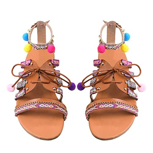 0bdc5991a53 Inkach Women Flat Sandals Fashion Bohemian Summer Sandals Ankle Wrap  Lace-up Shoes with Pom