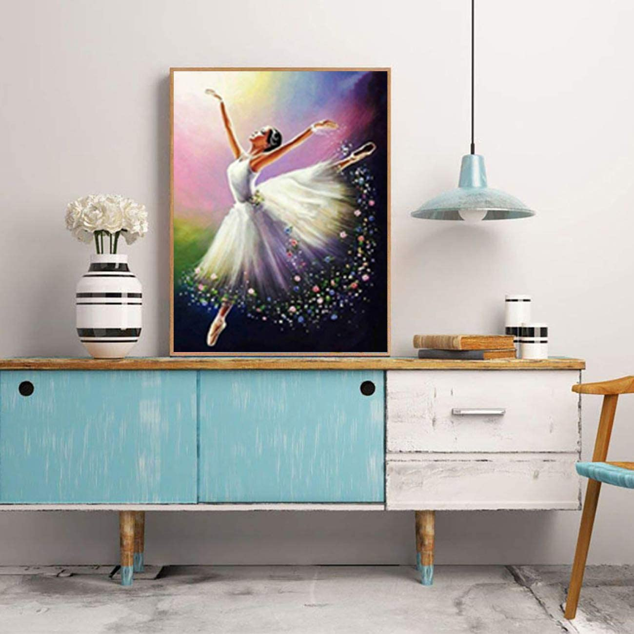 SKRYUIE DIY Rhinestone Pasted Paint with Diamond Set Arts Craft Decorations 12x16inch 5D Diamond Painting Dancer Full Drill by Number Kits
