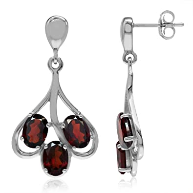 d022833d1 Image Unavailable. Image not available for. Color: 6ct. 3-Stone Natural  Garnet White Gold Plated 925 Sterling Silver Dangle Post Earrings