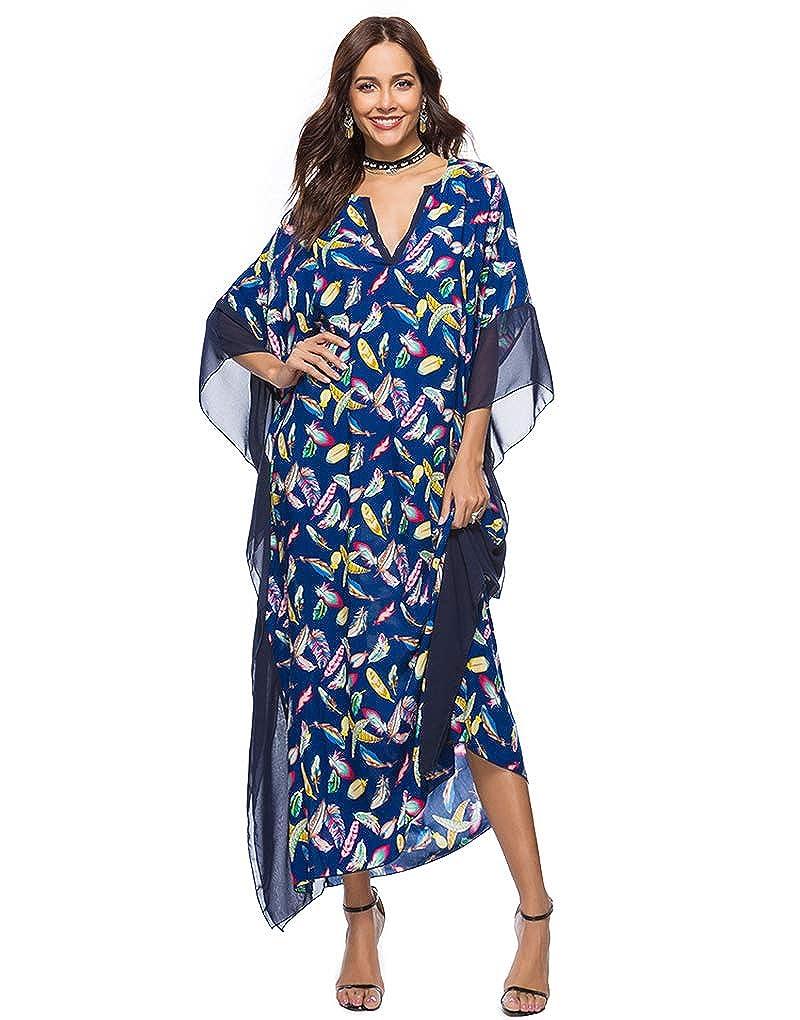 df72785cbb Exlura Women's Boho Floral Kaftan Dress Beach Tunic Long Maxi Dress Beach  Cover Up Plus Size at Amazon Women's Clothing store: