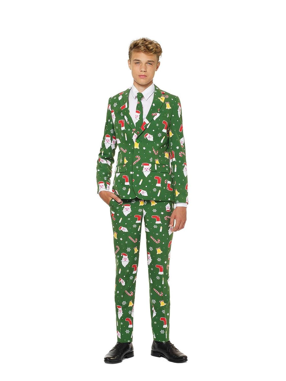KULTFAKTOR GmbH Mr. Santaboss Opposuits-Kostüm für Junge Männer Weihnachten grün-bunt 170 176 (16-18 Jahre)