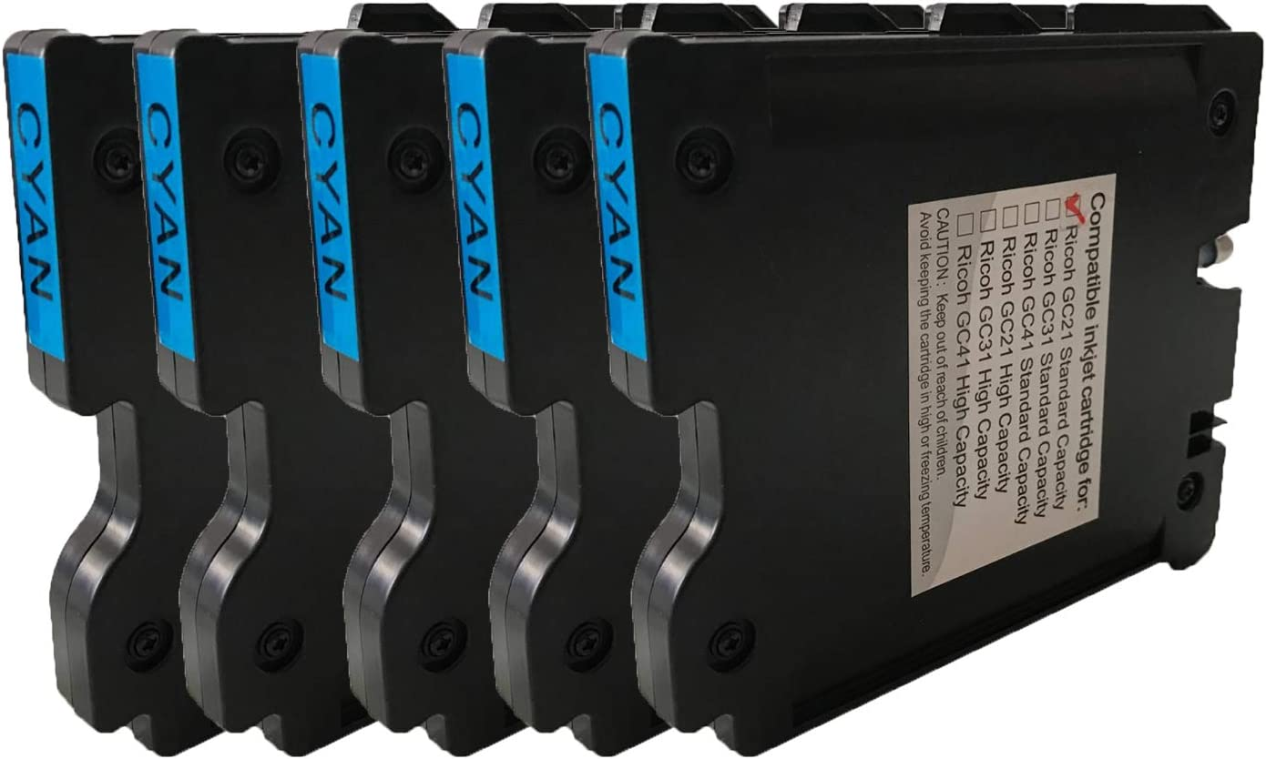 5-Pack GX 3000S Replaces GC21C GX 3050N GX 7000 KLDink for GX 3050SFN GX 3000 GX 5050N Compatible Cyan 405533 Sublimation Ink Cartridge GX 3000SF GX 2500