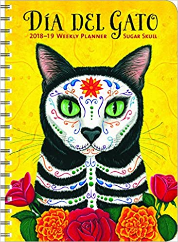 sugar skull 2019 on the go weekly planner 17 month calendar with pocket aug 2018 dec 2019 5 x 7 closed