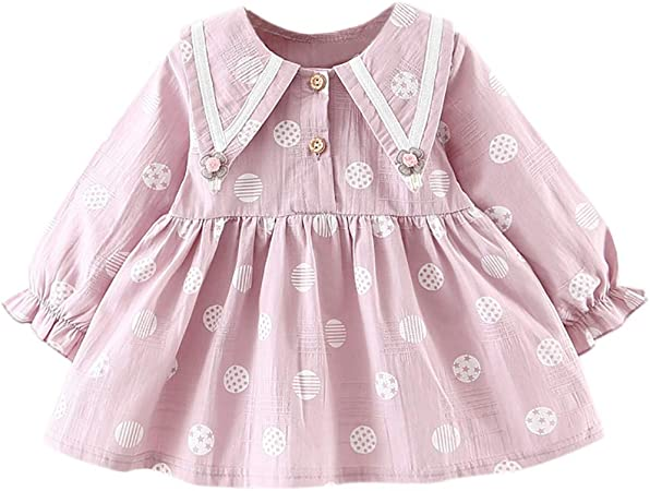 Toddler Kids Baby Girls Long Sleeve Flower Clothes Party Princess Dress