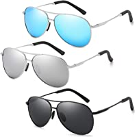 Polarized Aviator Sunglasses for Men and Women 100% UV protection shades Mirrored Lens Metal Frame with Spring Hinges