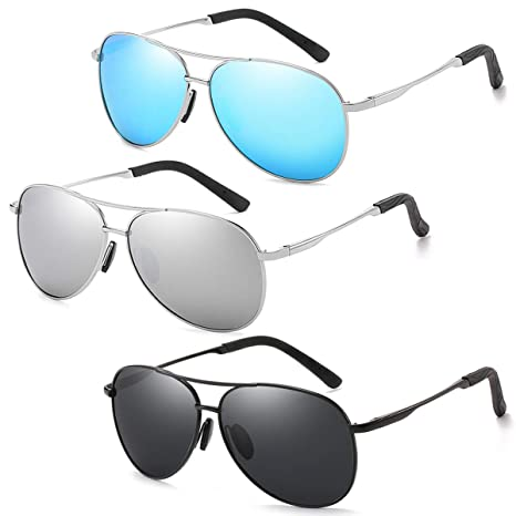 e9bf5a7f2b Polarized Aviator Sunglasses for Men and Women-100 UV Protection Mirrored  Lens -Metal Frame with Spring Hinges (3 Pack-Blue+Grey+Silver)  Amazon.ca   Luggage ...