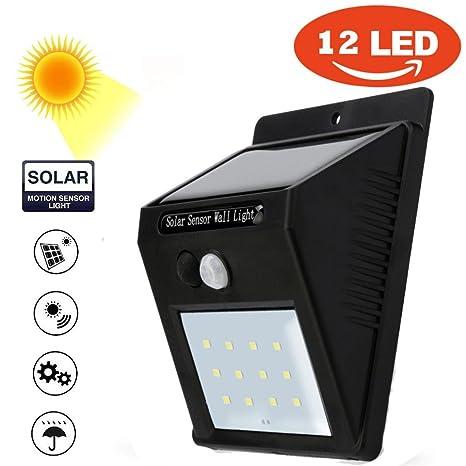 STRIR Luz de solar LED/foco LED con Sensor de Movimiento de 12 LEDs,