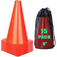 cyrico 7 Inch or 9 Inch Soccer Training Cones, Orange Traffic Cones Sports Agility Field Parking Marker Plastic Safety…