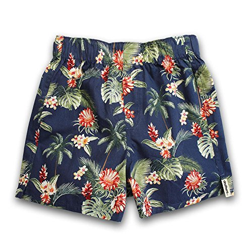 DRUTHERS The Perfect Boys Hawaiian Shirt Print Boxer Shorts/Organic Cotton Boxers/Made in USA Underwear/Fun Prints (Navy Hawaiian, Size Medium (4-5)