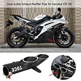 Anauto Motorcycle Dual-outlet Exhaust Tail Pipe Muffler Tailpipe Tip for Yamaha YZF-R6 Suzuki GSX-R Black