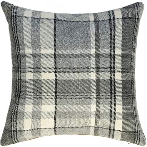 McAlister Textiles Heritage | Tartan Plaid Throw Pillow Cover in Charcoal Gray | Square 18 x 18 | Decorative Striped Woven Cushion Sham Case for Sofa and Bedroom Country Cabin Accent Decor