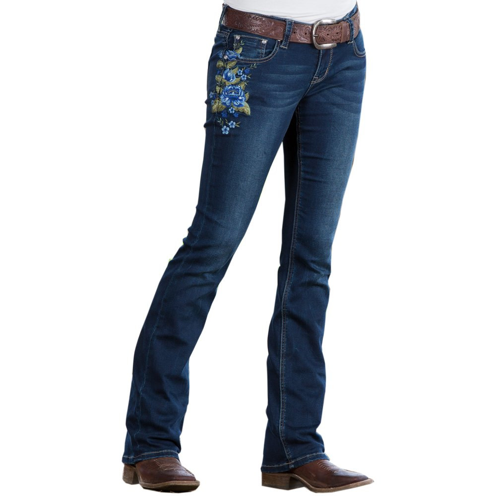 Grace in LA Sliver of bluee Embroidered Slim Fit Jean