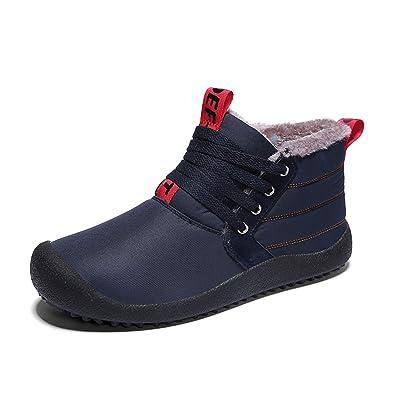 1a3812ec9c0d79 SITAILE Herren Winterschuhe Warme Schneestiefel Gefüttert Outdoor  Rutschfeste Stiefel Knöchel Stiefel Wasserdicht Boots