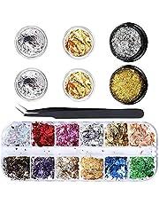 12-pack folie nail art chip kit, Ebanku nagelfolie vlokken goud zilver glitter pailletten paillette voor gelnagels en nail art design decoratie benodigdheden