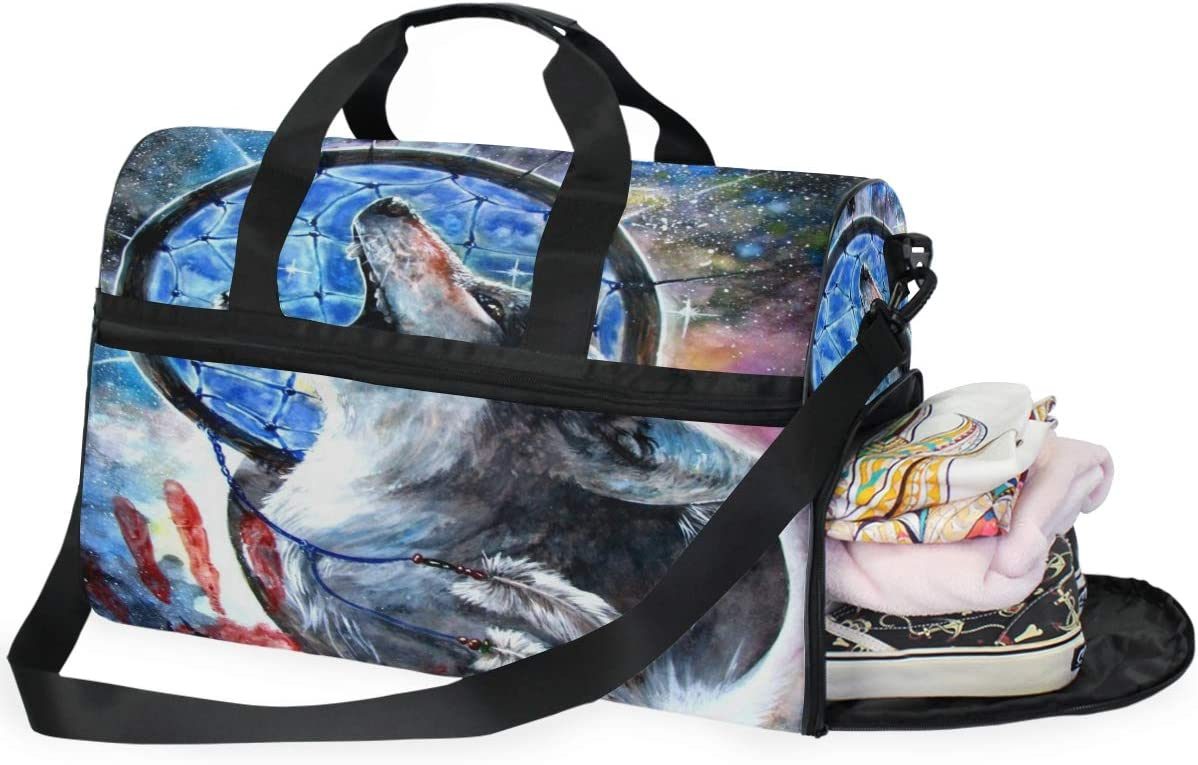 Dream Catchers Wolf Sports Gym Bag with Shoes Compartment Travel Duffel Bag for Men and Women