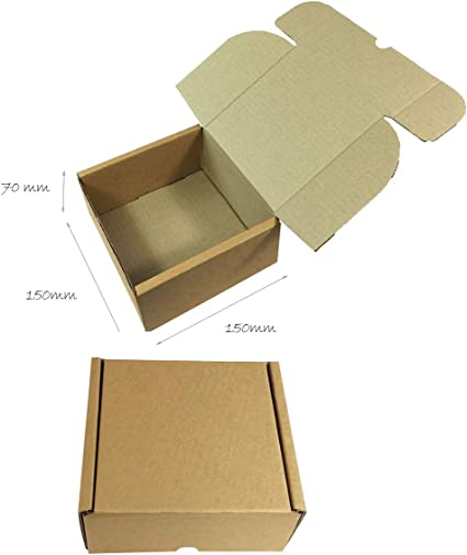 Caja postal de cartón con tapa abatible, 150 x 150 x 70 mm, con solapas para cerrarla sin cinta ni pegamento, fácil de montar, color marrón: Amazon.es: Oficina y papelería