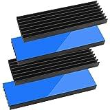 Tuloka 4個ヒートシンク 導熱接着シート4pcs付き 熱暴走対策 冷却ラジエーターフィンCPU ICチップ 回路基板 LEDアンプに適用 アルミニウム 黒70×22×6