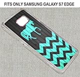 [TeleSkins] - Plastic Clear Case For Samsung Galaxy S7 EDGE - Horse On Teal Wood Zig Zag Pattern - Ultra Durable Slim Fit, Protective Plastic Snap On Back Case / Cover