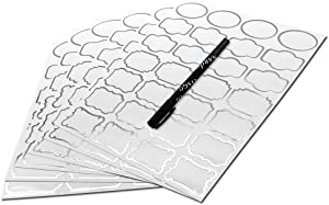 Nardo Visgo Clear Sticker Labels with Silver Border,Free Black Marker,Transparent Removable Waterproof Name Tags in Assorted Sizes for Storage Bins,Mason Jars,Food Container,Kids Daycare,138pcs