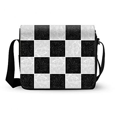 Attractive Checker Board Pattern Messenger Bag Oxford Fabric