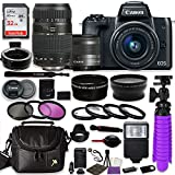 Canon EOS M50 Mirrorless Digital Camera (Black) Bundle w/Canon EF-M 15-45mm IS STM & Tamron 70-300mm Di LD Lenses + Auto (EF/EF-S to EF-M) Mount Adapter + Gadget Bag + Accessories