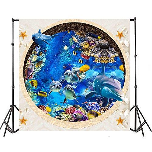 6ef96aa596 Yeele 4x4ft Cartoon Cute Dolphin Aquarium Background Blue Seawater Seashell  Mussel Starfish Fish Coral Reef Photography Backdrops Vinyl Baby Shower  Children ...