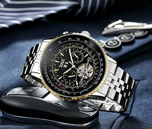 Amazon.com: GuTe Pro Mens Tourbillon Mechanical Watch Tachymeter Day Date Month Wristwatch (Black): Watches