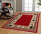 RUGS HOME Furnishmyplace Wildlife Bear Moose Rustic Lodge Cabin Lodge Carpet Area Rug, Dark Red Review