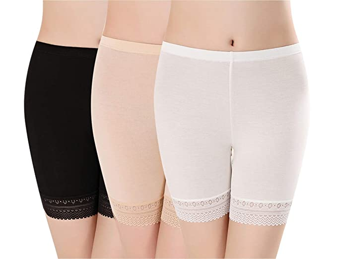 Magilona Womens Girls Stretch Boxer Short Leggings Lace Ultra Thin Model Knickers Summer Safety Under Pants Dance Cycling Shorts 3-Pack