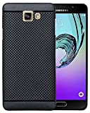 Jannat Protection Premium Dotted Designed Soft Rubberised Back Case Cover For Samsung Galaxy A7 2016 - Black