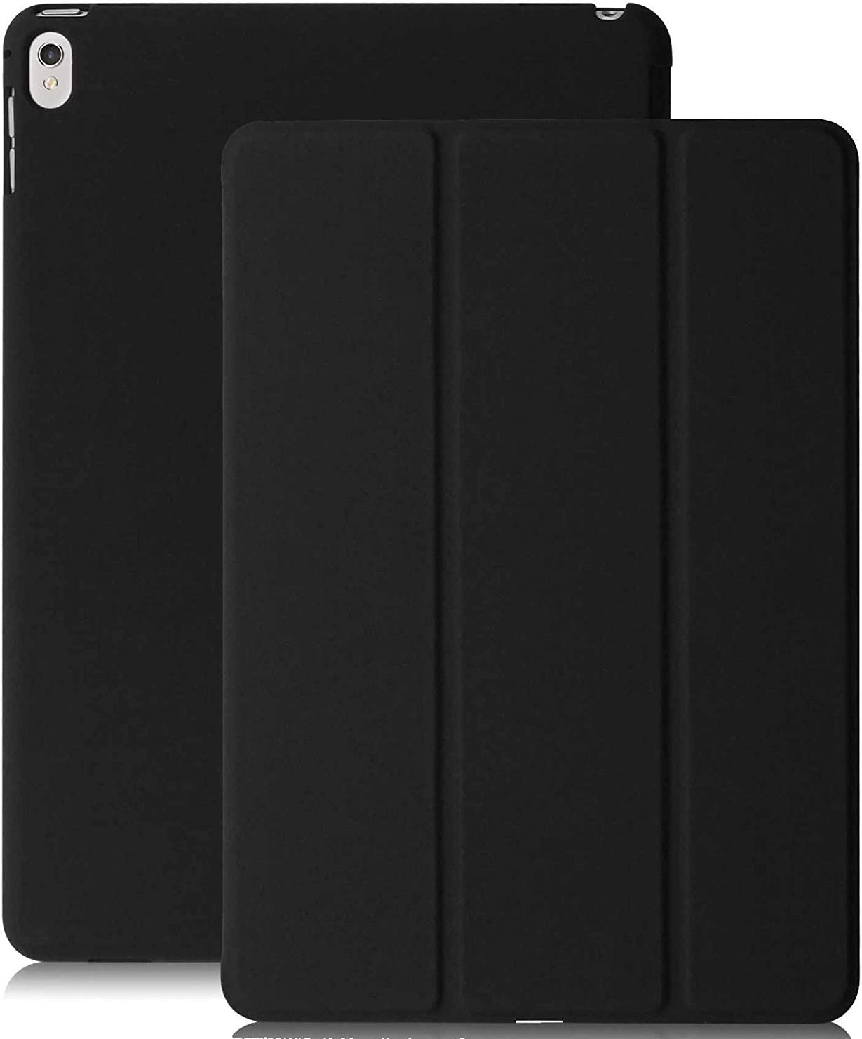 KHOMO iPad Pro 9.7 Inch Case (2016) - DUAL Black Super Slim Cover with Rubberized back and Smart Feature (Built-in magnet for sleep / wake feature) For Apple iPad Pro 9.7 Tablet