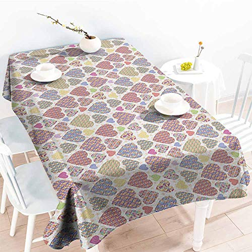 familytaste Love,Fitted tablecloths Colorful Hearts with Ornamental Mosaic Patterns Love and Affection Best Wishes Theme 54