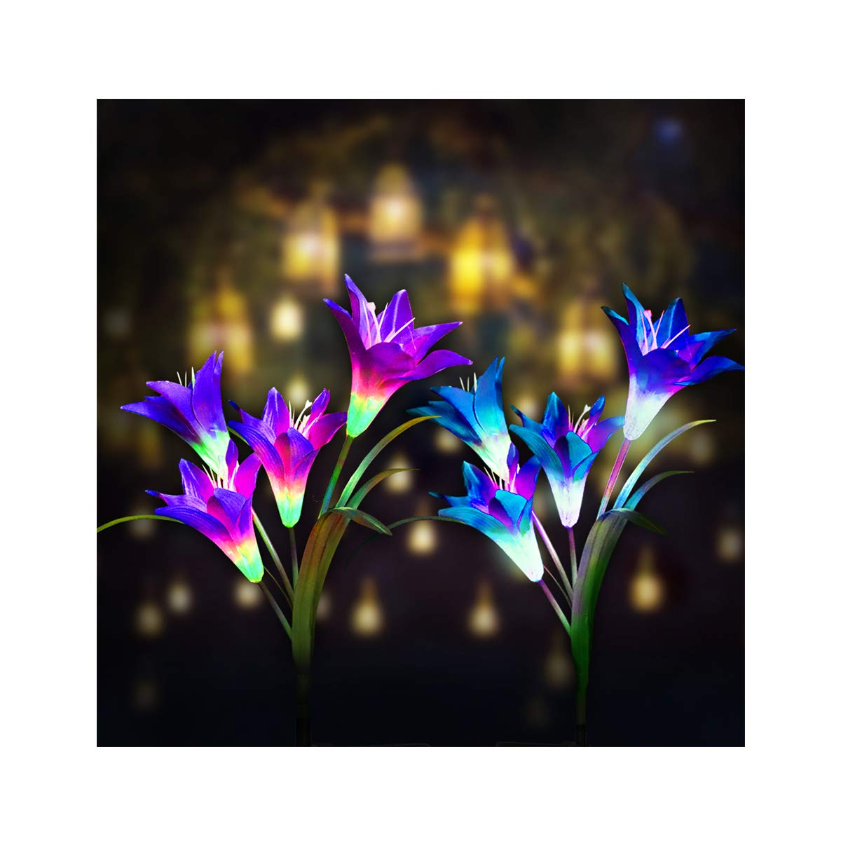 Digiroot Waterproof Outdoor Solar Garden Stake lights 2 Packs Solar Powered Garden Lights with 8 Lily Flower Multi Color Changing LED Solar Stake Lights for Garden Patio Backyard Decor