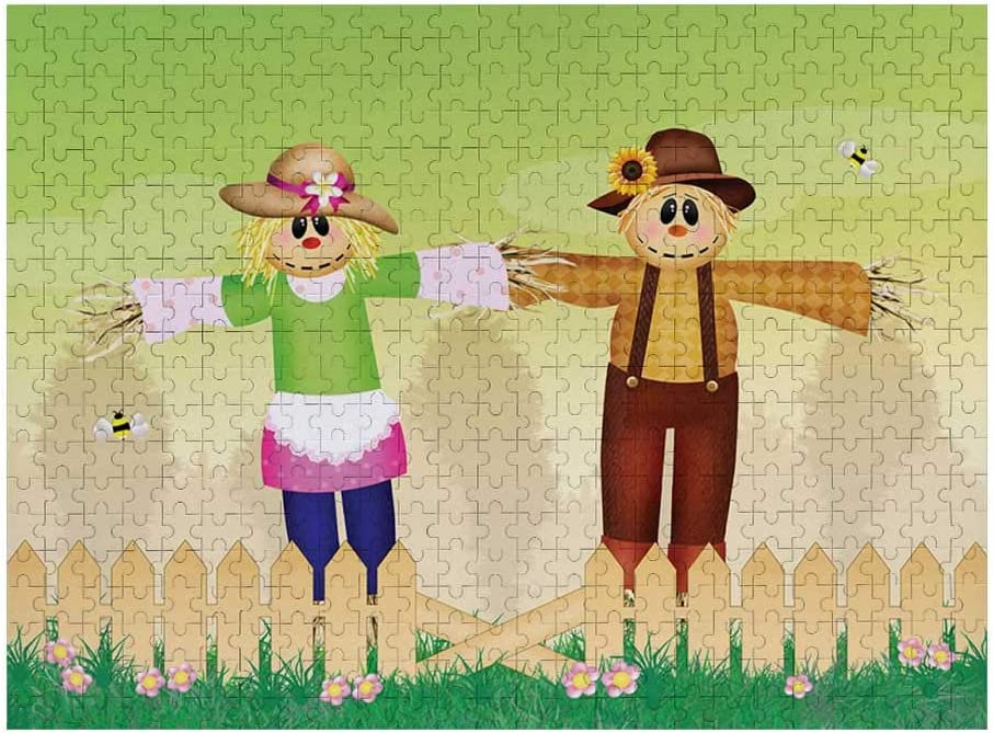 Puzzle Cartoon in Garden Photo Pattern Gradient Puzzle Camping Games Art Deco Puzzle Wall Painting Scarecrow Multicolor