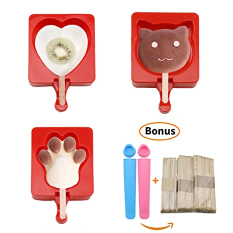 Joyoldelf silicona Popsicle Moldes – Cute Paw, gato, corazón hielo Lolly Mould chocolate candy