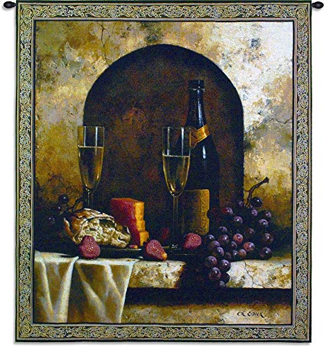 Date to Remember by Loran Speck | Woven Tapestry Wall Art Hanging | Wine with Grapes and Cheese Still Life | 100% Cotton USA Size 59x53