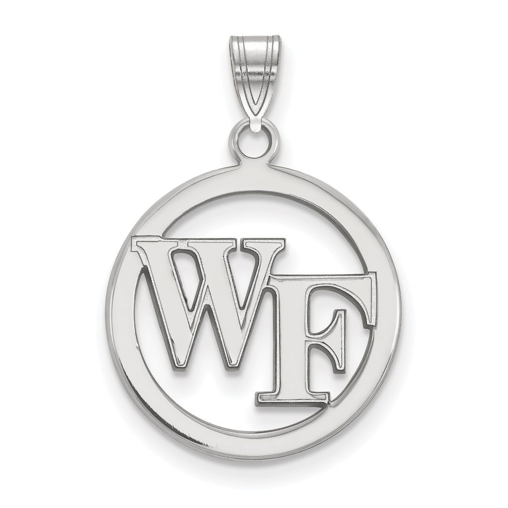 17mm x 26mm Solid 925 Sterling Silver Wake Forest University Sm Pendant in Circle