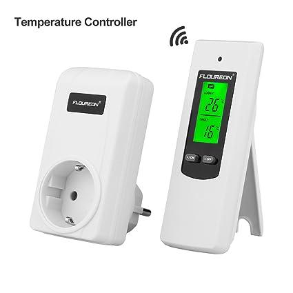 FLOUREON Termostato Conector inalámbrico Termostato Enchufe RF Termostato del radiador Calefacción Regulador de temperatura de refrigeración