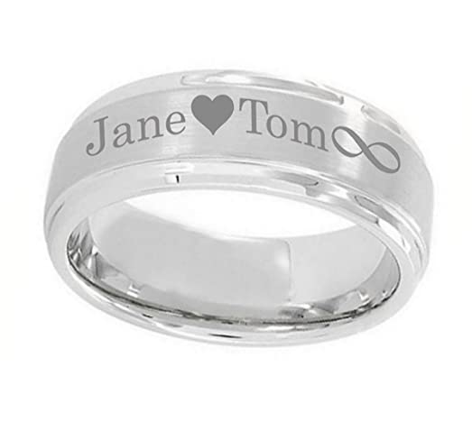 Personalized Outside Inside Engraving Cobalt Wedding Band Ring 9mm Brushed Center Polished Shiny Edge