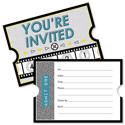 Movie - Shaped Fill-in Invitations - Hollywood Party Invitation Cards with Envelopes - Set of 12 -