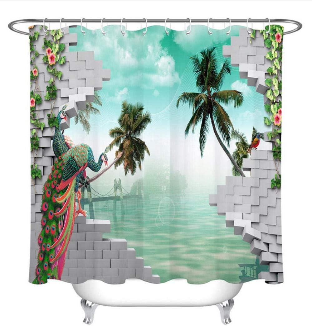 XQWZM Ladrillos Grises 3D Pavos Reales Palmeras Cortina de Ducha de Agua Mamparas de baño Tejido de poliéster Impermeable para bañera con 12 Ganchos: Amazon.es: Hogar