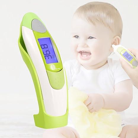 1byone Termómetro de frente y oído para bebés, niños y adultos, con pantalla digital retro iluminada, memoria de 10 lecturas y aviso de fiebre