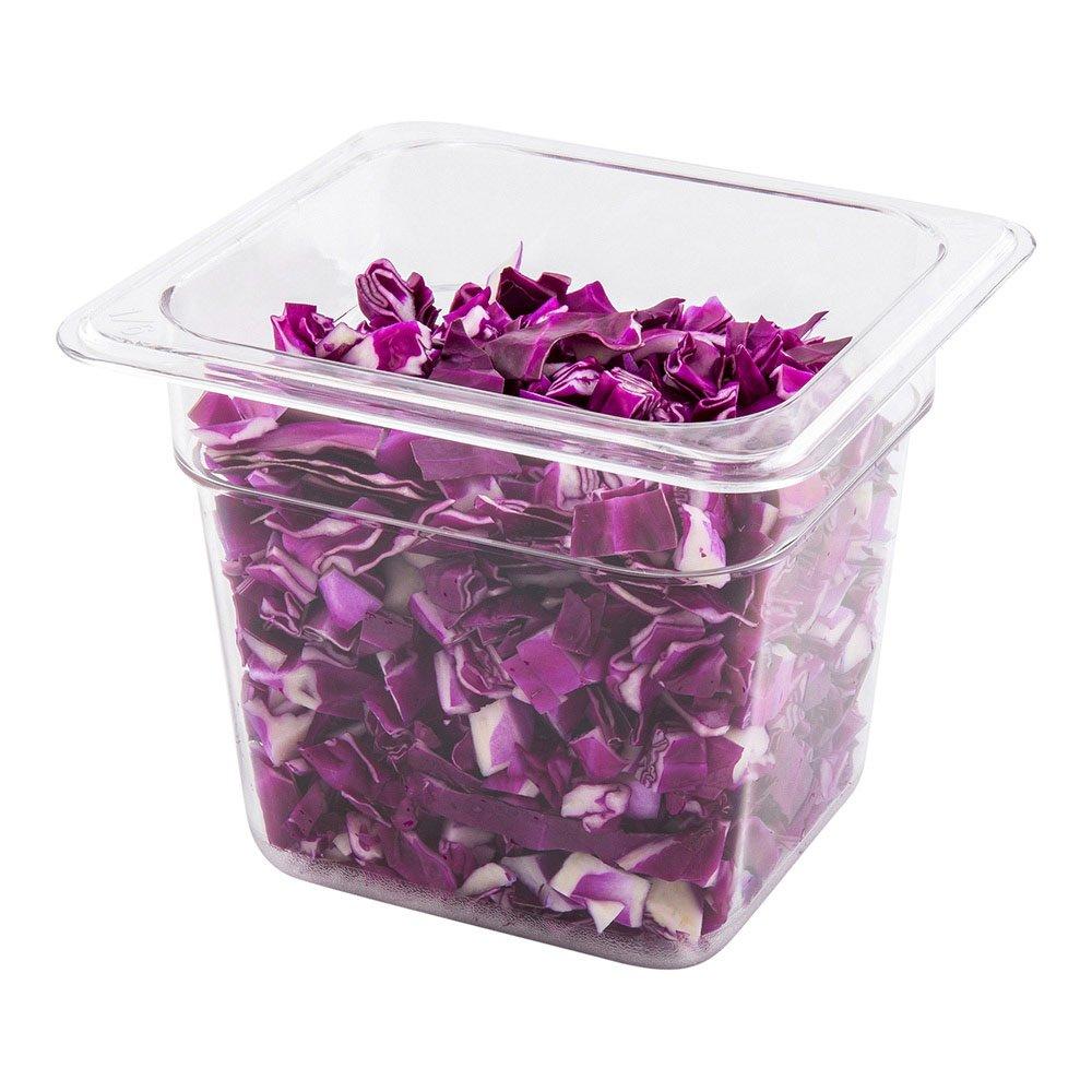 """Plastic Cold Food Storage Container, Buffett Container - One-Sixth Sized Plastic Container - 6"""" Deep - Clear - 1ct Box - Met Lux - Restaurantware"""