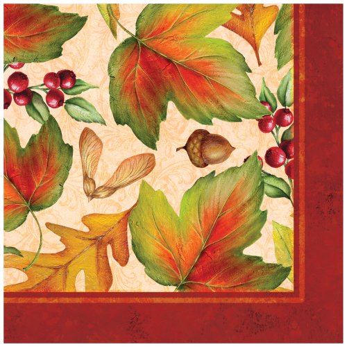 Creative Converting 666884 16 Count Lunch Napkins, Rich Foliage, Tan/Orange/Green
